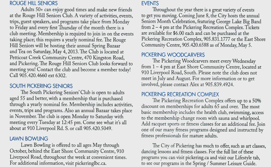 Pickering Seniors Clubs