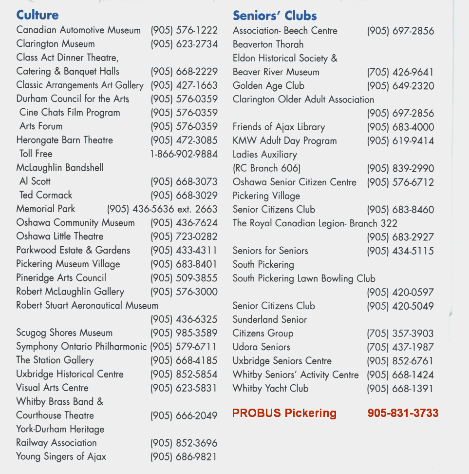 SENIORS CLUBS n SPECIAL INTERESTS